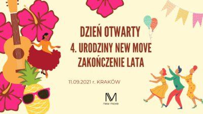 Dzień Otwarty New Move (zajęcia, urodziny, zakończenie lata)